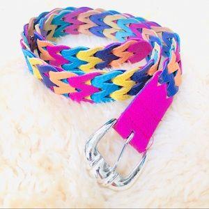 Pink yellow blue purple braided leather belt